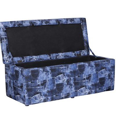 Three Seats Leather Storage Ottoman