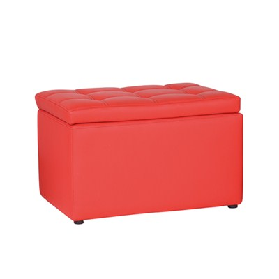 Two Seats Leather Storage Ottoman