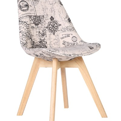 Simple Design Fabric Wooden Dining Chair