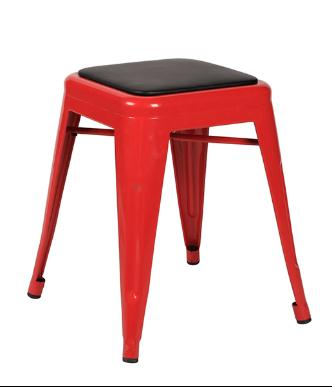 Red Metal Dining Chair With Cushion