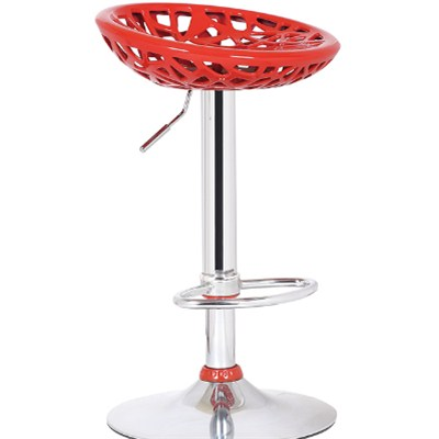 Red Plastic Bar Stool