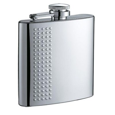HF063 6oz Stainless Steel Barware Square Shape Hip Flask Wine Flask with Embossed