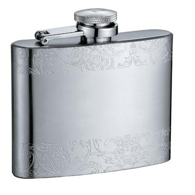 HF066 4oz Stainless Steel Barware Square Shape Hip Flask Wine Flask with Embossed
