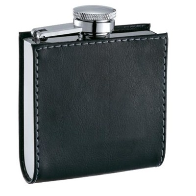 HF091 4oz Stainless Steel Barware Square Shape Hip Flask Wine Flask With Leather Wrapped