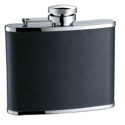 HF094 4oz Stainless Steel Barware Square Shape Hip Flask Wine Flask with PU Wrapped