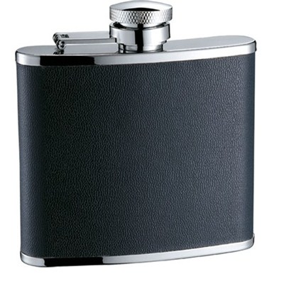 HF095 5oz Stainless Steel Barware Square Shape Hip Flask Wine Flask with PU Wrapped