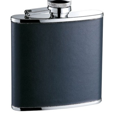 HF096 6oz Stainless Steel Barware Square Shape Hip Flask Wine Flask with PU Wrapped