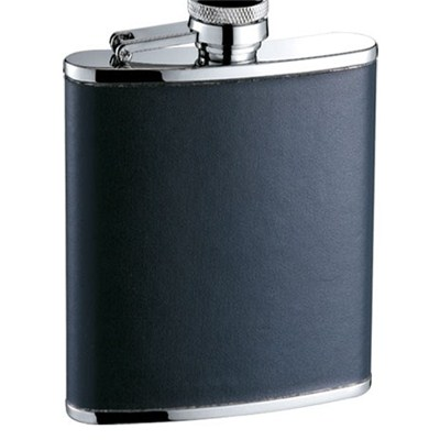HF097 7oz Stainless Steel Barware Square Shape Hip Flask Wine Flask with PU Wrapped
