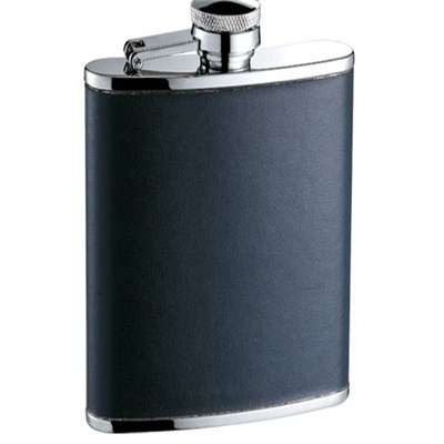 HF098 8oz Stainless Steel Barware Square Shape Hip Flask Wine Flask with Leather Wrapped