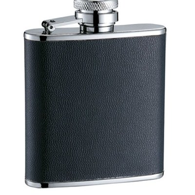 HF099 2.5oz Stainless Steel Barware Square Shape Hip Flask Wine Flask with PU Wrapped