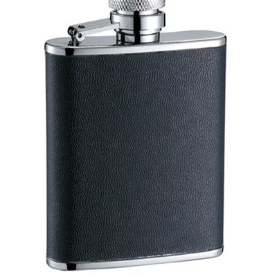 HF100 3oz Stainless Steel Barware Square Shape Hip Flask Wine Flask with PU Wrapped