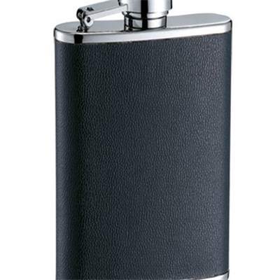 HF101 3.5oz Stainless Steel Barware Square Shape Hip Flask Wine Flask with PU Wrapped