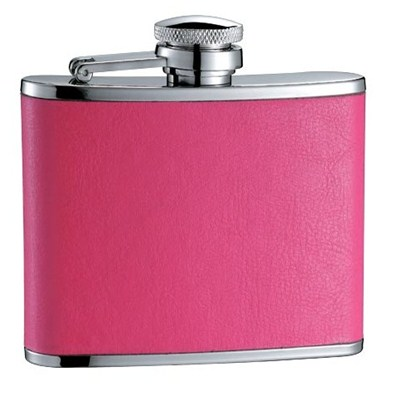 HF104 4oz Stainless Steel Barware Square Shape Hip Flask Wine Flask with PU Wrapped