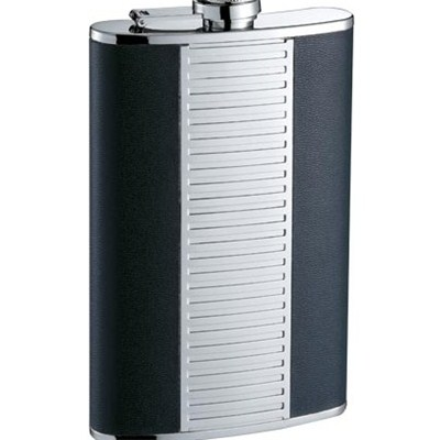 HF115 9oz Stainless Steel Barware Square Shape Hip Flask Wine Flask with PU Wrapped