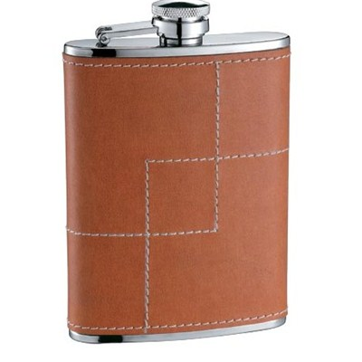 HF120 8oz Stainless Steel Barware Square Shape Hip Flask Wine Flask with PU Wrapped