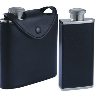 HF145 3oz x 2pcs Stainless Steel Barware Square Shape Hip Flask Wine Flask with Leather Bag
