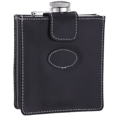 HF176 7oz Stainless Steel Barware Square Shape Hip Flask Wine Flask with PU Bag