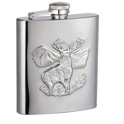 HF178 8oz Stainless Steel Barware Square Shape Hip Flask Wine Flask with Embossed