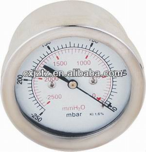 63mm Back St.St. Capsule Mbar Gas Pressure Gauge