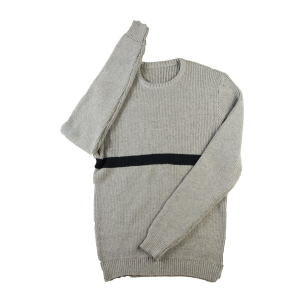 2015 Fall Roune-Neck Pullover Wool Vertical Rib Colorblock Sweater