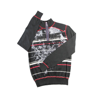 men's plastic zipper pullover striped printing sweater in three-thread coverstitch
