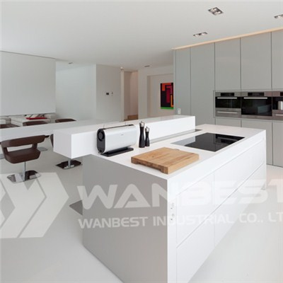 Solid Surface White Open Plan Kitchen Counter