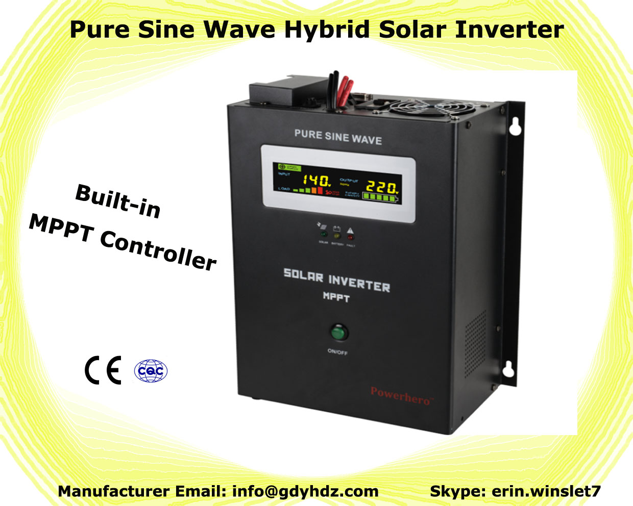 pure sine wave off-grid solar inverter/UPS with MPPT charge controller