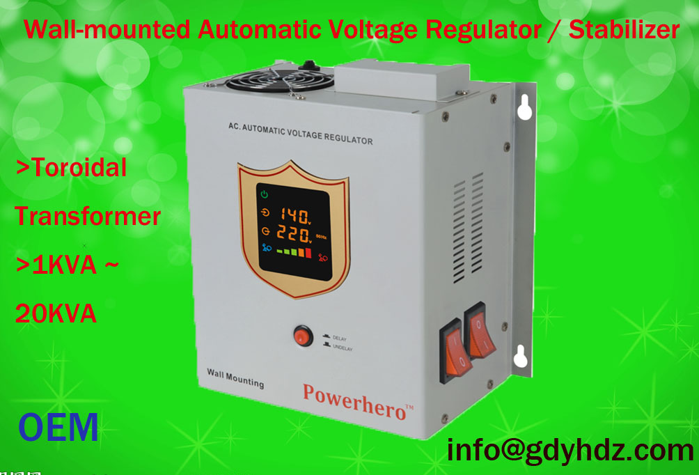 1KVA-20KVA  Wall-mounted AVR/voltage stabilizer with toroidal transformer/colorful display