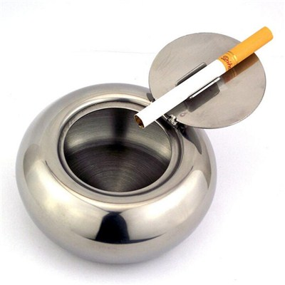 AS007 Stainless Steel Barware Waterproof Cigar Ashtray with Lid Middle Size Promotional