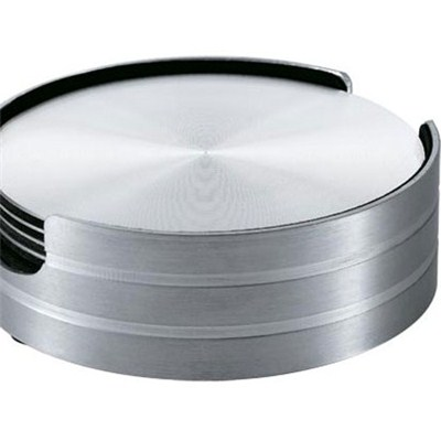 CA006-01 Stainless Steel Barware Round Coasters with Base and EVA Backing