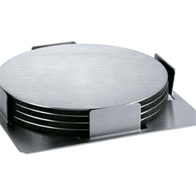 CA010 Stainless Steel Barware Round Cup Coasters with EVA Backing Tabletop Display