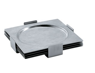 CA011 Stainless Steel Barware Square Cup Coasters wtih EVA Backing