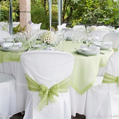 White Chair Cover With Sashes