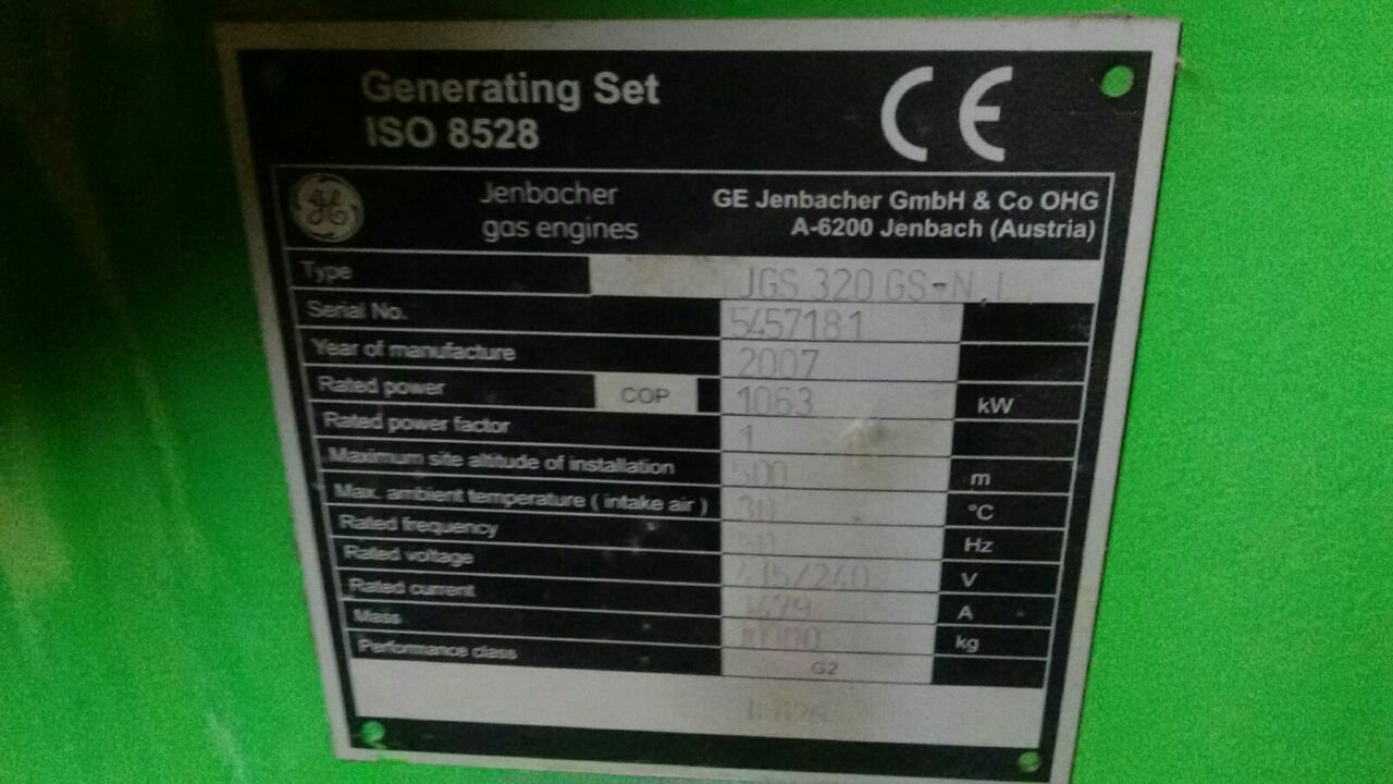 USED JEANBACHER  GAS GEN-SET FOR SALE 2007