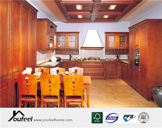 Traditional Customized Red Oak Wood Kitchen Cabinet