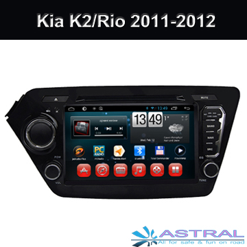 Android4.4 Quad Core Car GPS Navigation for Kia K2 / Rio 2011-2012 with Wifi 3G BT TV