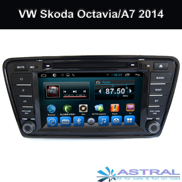 Quad Core Car GPS Navigation Central Multimedia for Volkswagen Skoda Octavia 2014 / A7 with Android4.4 System