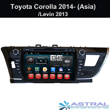 9 Inch HD Car DVD Player GPS Navigation for Toyota Corolla 2014- (Asia) / Levin 2013 with Android 4.4 Quad Core Car Radio System Support Wifi Car Bluetooth