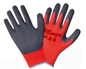China Latex Coated 13G Polyester Safety Glove Crinkle