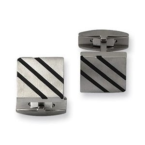 Titanium Men's Cuff Links 3 Black Resin Lines On Top Of Square Shape Solid Surface Clothing Accessoies TTC103