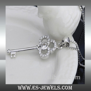 Key Style 925 Sterling Silver Necklace Jewelry ESL003