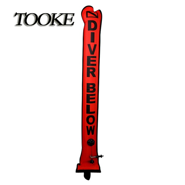 TOOKE SMB 1.2*18cm Surface Marker Inflatable Dive Buoy Dive Rite Scuba Diving Float Tube Red