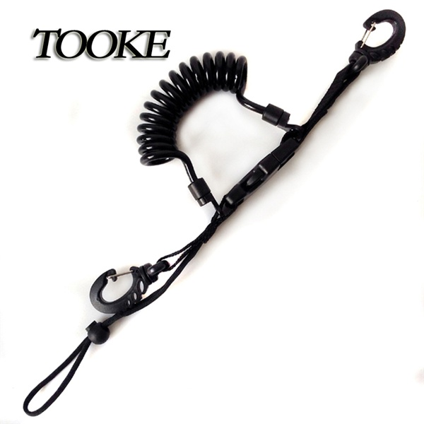 TOOKE Scuba Diving Dive Snappy Coil Spiral Lanyard With Clips and Quick Release Buckle for hookup Camera
