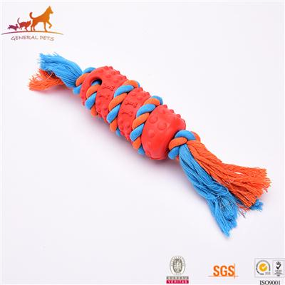 Rubber And Cotton Rope Dog Toy