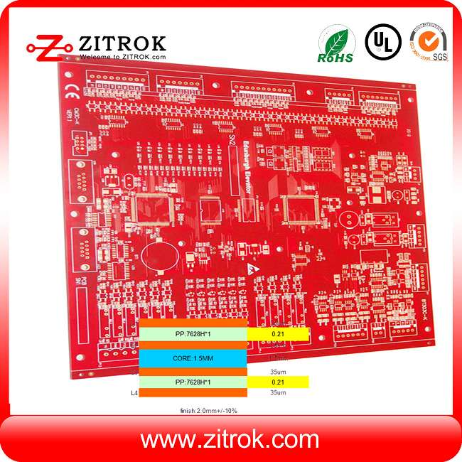 OSP 4Layer Red soldermask 2.0mm board thickness PCB
