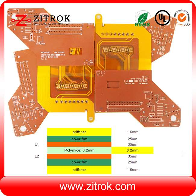 Rigid-flex1.6mm FR4 and 0.2mm Polyimide double-sided Yellow coverlayer PCB