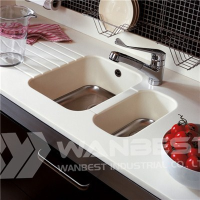 Corian White Sink With Drainer Grooves