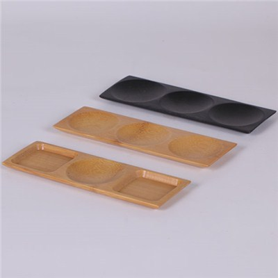 Bamboo Plate Three Compartment