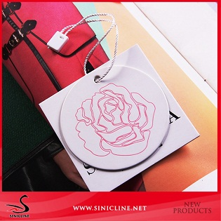Sinicline july elegant white special paper swing tag custom hang tag with debossed logo