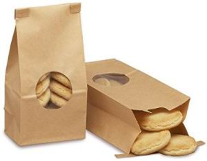 Paper Plastic Bakery Flat Bottom Bags